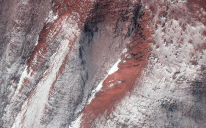 Monitoring by NASA's Mars Reconnaissance Orbiter HiRISE has shown that gully formation on Mars occurs in winter and early spring in times and places with frost on the ground.