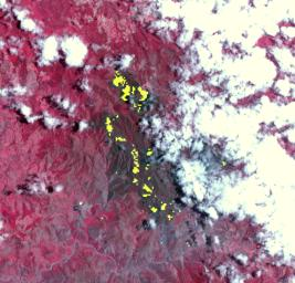 NASA's Terra spacecraft captured this thermal infrared view of the spread of the forest fire in Valle Nuevo National Park near Costanza, Dominican Republic.