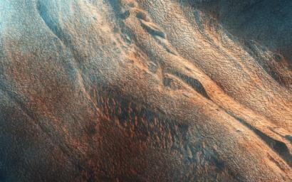 The north end of this long image from NASA's Mars Reconnaissance Orbiter shows a lava surface in southern Elysium Planitia. Small cones are common on the extensive young flood lavas in this region.