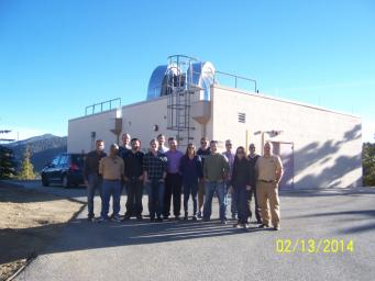 NASA's Optical PAyload for Lasercomm Science (OPALS) operations team is seen at the Optical Communications Telescope Laboratory ground station during an operations planning retreat on February 13, 2014.