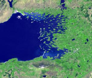 Clew Bay is in County Mayo, Republic of Ireland. It contains Ireland's best example of sunken glacial drumlins. This image was acquired May 31, 2016 by NASA's Terra spacecraft.