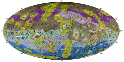 This high-resolution geological map of Vesta is derived from NASA's Dawn spacecraft data.