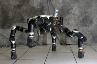 RoboSimian is an ape-like robot that moves around on four limbs designed. It was designed and built at NASA's Jet Propulsion Laboratory in Pasadena, California.