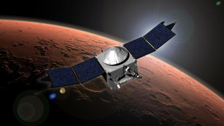 This image shows an artist concept of NASA's Mars Atmosphere and Volatile Evolution (MAVEN) mission.