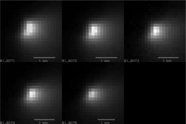 Five images of comet Siding Spring taken within a 35-minute period as it passed near Mars on Oct. 19, 2014, provide information about the size of the comet's nucleus. The images were acquired by the HiRISE camera on NASA's Mars Reconnaissance Orbiter.
