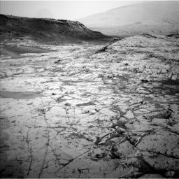 The first demonstration of NASA's MAVEN Mars orbiter's capability to relay data from a Mars surface mission, on Nov. 6, 2014, included this image, taken Oct. 23, 2014, by Curiosity's Navigation Camera, showing part of 'Pahrump Hills' outcrop.