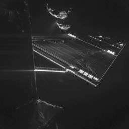 The Philae lander of the European Space Agency's Rosetta mission took this self-portrait of the spacecraft on Sept. 7, 2014, at a distance of about 10 miles (16 kilometers) from comet 67P/Churyumov-Gerasimenko.
