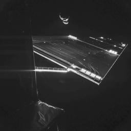 The Philae lander of the European Space Agency's Rosetta mission took this self-portrait of the spacecraft on Sept. 7, 2014, at a distance of about 30 miles (50 kilometers) from comet 67P/Churyumov-Gerasimenko.