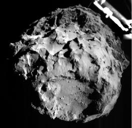 This image of comet 67P/Churyumov-Gerasimenko was taken by the Philae lander of the European Space Agency's Rosetta mission during Philae's descent toward the comet on Nov. 12, 2014 from a distance of approximate two miles (three kilometers).