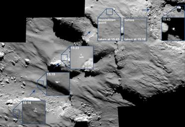 The descent of its comet lander Philae was captured by ESA's Rosetta spacecraft's main camera as the lander approached -- and then rebounded off -- the comet's surface.