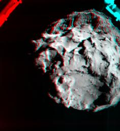 A 3D image shows what it would look like to fly over the surface of comet 67P/Churyumov-Gerasimenko. The image was generated by data collected by ESA's Philae spacecraft during the decent to the spacecraft's initial touchdown on the comet Nov. 12, 2014.