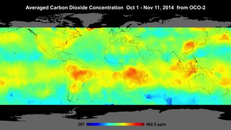 Global atmospheric carbon dioxide concentrations from Oct. 1 through Nov. 11, as recorded by NASA's Orbiting Carbon Observatory-2.