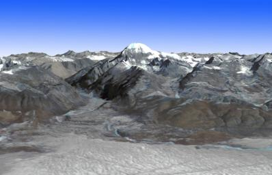 This image from NASA's Terra spacecraft shows Mt. Kailash, a peak in the Kailas Range in Tibet. It lies near the source of some of the longest Asian rivers: the Brahmaputra, the Sutlej and the Karnali.