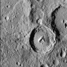 Situated high in Mercury's southern hemisphere, NASA's MESSENGER sees Han Kan, a 50-km-diameter impact crater with a well preserved central peak and a smooth floor that is likely solidified impact melt.