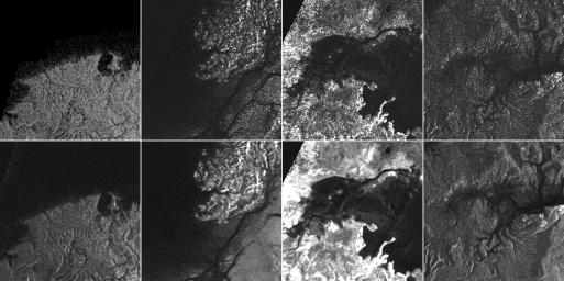 This montage from NASA's Cassini Synthetic Aperture Radar (SAR) images of the surface of Titan shows four examples of how a newly developed technique for handling noise results in clearer, easier to interpret views.