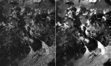 Presented here are side-by-side comparisons of a traditional Cassini Synthetic Aperture Radar (SAR) view, at left, and one made using a new technique for handling electronic noise that results in clearer views of Titan's surface, at right.