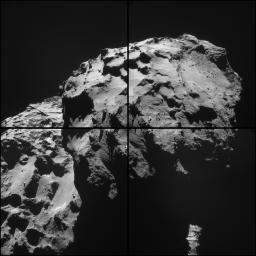 This mosaic of images from the navigation camera on the European Space Agency's Rosetta spacecraft shows the nucleus of comet 67P/Churyumov-Gerasimenko as it appeared at 5 a.m. UTC on Dec. 17, 2014 (9 p.m. PST on Dec. 16).