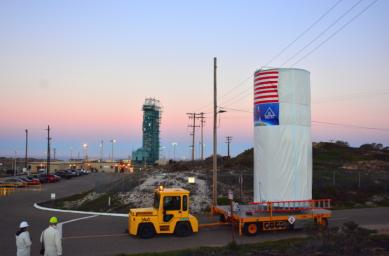 NASA's Soil Moisture Active Passive (SMAP) satellite is transported across Vandenberg Air Force Base in California to Space Launch Complex 2, where it will be mated to a Delta II rocket for launch, targeted for Jan. 29.