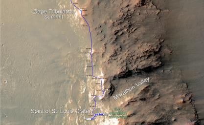 Eleven years and two months after its landing on Mars, the total driving distance of NASA's Mars Exploration Rover Opportunity surpassed the length of a marathon race: 26.219 miles (42.195 kilometers).