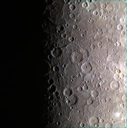 This image captured by NASA's MESSENGER spacecraft features a color view of the southern pole of Mercury. About midway down the image, the edge of the large Chao Meng-Fu crater,