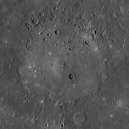 This mosaic from NASA's MESSENGER spacecraft of the mighty Caloris basin, Mercury's youngest large impact basin. Caloris has been filled by volcanic plains that are distinctive in color from the surrounding terrain.