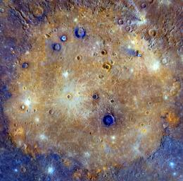 This mosaic from NASA's MESSENGER of Caloris basin is an enhanced-color composite overlain on a monochrome mosaic. It is made up of images obtained when both the spacecraft and the Sun were overhead, conditions best for discerning variat in albedo.