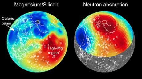 Maps of magnesium/silicon (left) and thermal neutron absorption (right) across Mercury's surface (red indicates high values, blue low) are shown here by NASA's MESSENGER spacecraft.