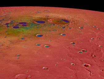 This view captured by NASA's MESSENGER spacecraft shows Mercury's north polar region, colored by the maximum biannual surface temperature, which ranges from >400 K (red) to 50 K (purple).