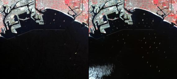In southern California, the combined ports of Los Angeles and Long Beach account for 33% of the nation's containerized imports. This image from NASA's Terra spacecraft shows the large backlog of waiting cargo ships being slowly unloaded.
