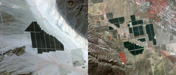 On February 15, 2015 the Desert Sunlight solar project in California's Mojave Desert became operational. This image from NASA's Terra spacecraft shows the 550-megawatt plant generates enough electricity to power 160,000 average homes.