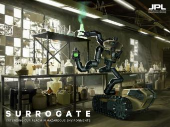 This artist's concept shows Surrogate, a robot that could one day assist in disasters or hazardous situations such as a dangerous chemical laboratory.