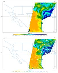 Southern U.S. SMAP soil moisture retrievals from April 27, 2015, when severe storms were affecting Texas.