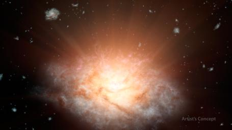 This artist's concept of the galaxy named WISE J224607.57-052635.0, is erupting with light equal to more than 300 trillion sunset; it was discovered by NASA's Wide-Field Infrared Survey Explorer, or WISE.