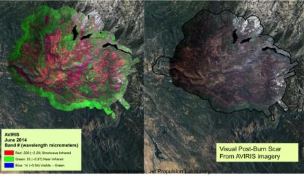 NASA's AVIRIS spectral map of the 2013 Rim fire in and near Yosemite National Park, California