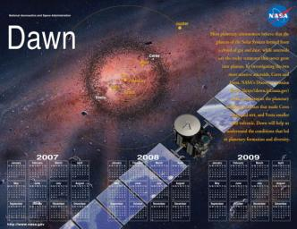 2007-2012 Double-sided Mission Events Calendar, part of the Dawn Mission Art series.