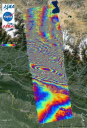 This false-color map shows the amount of permanent surface movement caused almost entirely by the 7.8 Gorkha earthquake in Nepal during a 70-day interval between two ALOS-2 images, acquired February 21 and May 2, 2015.