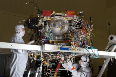 The Mars lander that NASA's InSight mission will use for investigating how rocky planets formed and evolved is being assembled by Lockheed Martin Space Systems, Denver.