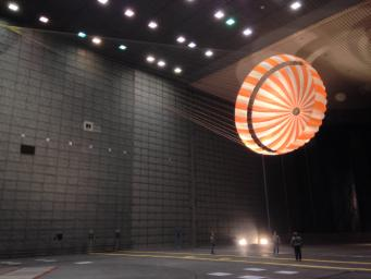 This parachute testing for NASA's InSight mission to Mars was conducted inside the world's largest wind tunnel, at NASA Ames Research Center, Moffett Field, California, in February 2015.