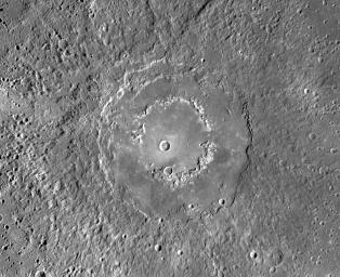 This mosaic from NASA's MESSENGER spacecraft provides a detailed view of the features and structures associated with the peak-ring basin Raditladi.
