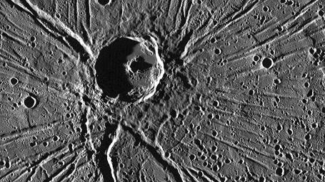 One of the most captivating views acquired during NASA's MESSENGER's first Mercury flyby was of the crater Apollodorus surrounded by the radiating troughs of Pantheon Fossae.