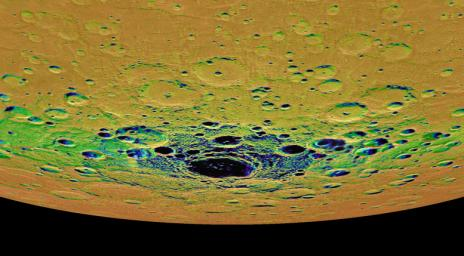 This view from NASA's MESSENGER spacecraft is an orthographic projection of Mercury's south polar region, colored by an illumination map; the center of the image is within the interior of the crater Chao Meng-Fu.