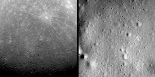 On March 18, 2011, NASA's MESSENGER made history by becoming the first spacecraft ever to orbit Mercury. Eleven days later, the spacecraft captured the first image ever obtained from Mercury orbit, shown here on the left.