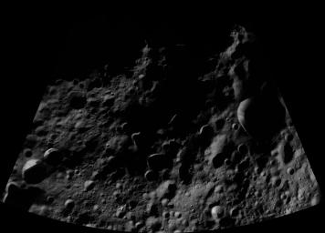 This image of Floronia AV-L-07, from the atlas of the giant asteroid Vesta, was created from images taken as NASA's Dawn mission flew around the object, also known as a protoplanet.