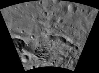 This image of Matronalia AV-L-25, from the atlas of the giant asteroid Vesta, was created from images taken as NASA's Dawn mission flew around the object, also known as a protoplanet.