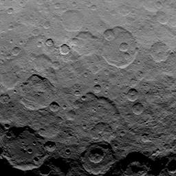 This image, taken by NASA's Dawn spacecraft, shows dwarf planet Ceres from an altitude of 2,700 miles (4,400 kilometers). The image, with a resolution of 1,400 feet (410 meters) per pixel, was taken on June 10, 2015.