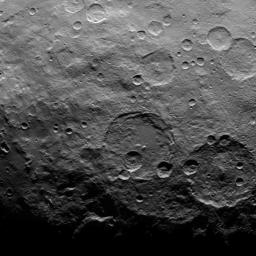 This image, taken by NASA's Dawn spacecraft on June 16, 2015, shows a portion of the southern hemisphere of dwarf planet Ceres from an altitude of 2,700 miles (4,400 kilometers), with a resolution of 1,400 feet (410 meters) per pixel.