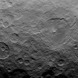 This image, taken by NASA's Dawn spacecraft, shows dwarf planet Ceres from an altitude of 2,700 miles (4,400 kilometers). The image, with a resolution of 1,400 feet (410 meters) per pixel, was taken on June 22, 2015.