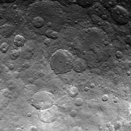 This image, taken by NASA's Dawn spacecraft, shows dwarf planet Ceres from an altitude of 2,700 miles (4,400 kilometers). The image, with a resolution of 1,400 feet (410 meters) per pixel, was taken on June 24, 2015.