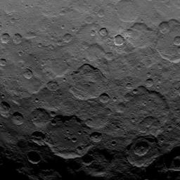 This image, taken by NASA's Dawn spacecraft, shows dwarf planet Ceres from an altitude of 2,700 miles (4,400 kilometers). The image, with a resolution of 1,400 feet (410 meters) per pixel, was taken on June 25, 2015.