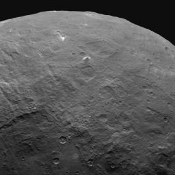 This image, taken by NASA's Dawn spacecraft on June 6, 2015, features a tall mountain on Ceres that is 4 miles (6 kilometers) high -- among the tallest features seen on Ceres to date.